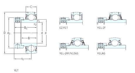 المحامل YET206-102 SKF